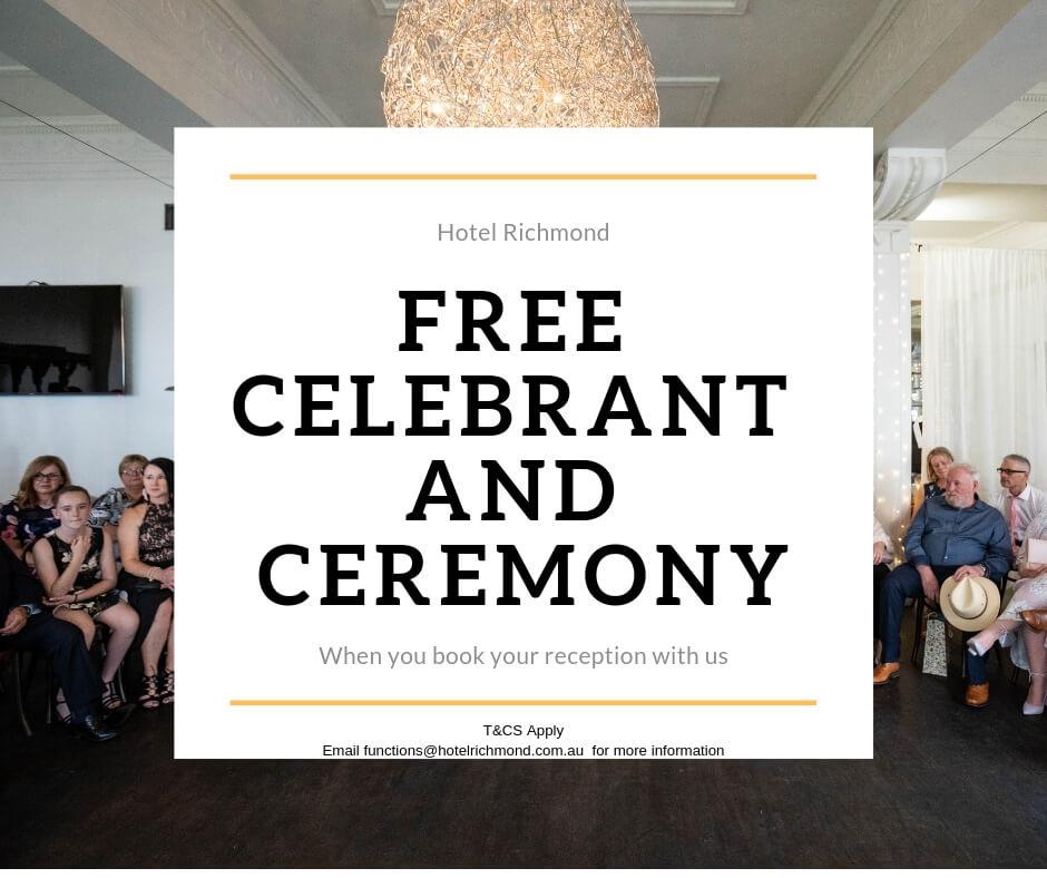 Free Celebrant & ceremony at Hotel Richmond