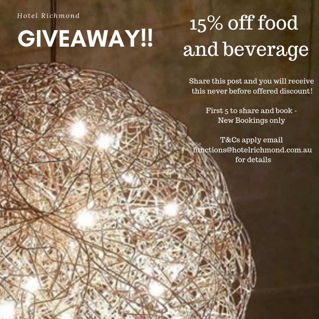 15% off food and beverage deal for wedding festival