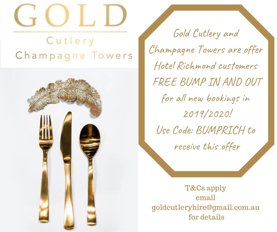 gold cutlery hire and champagne towers