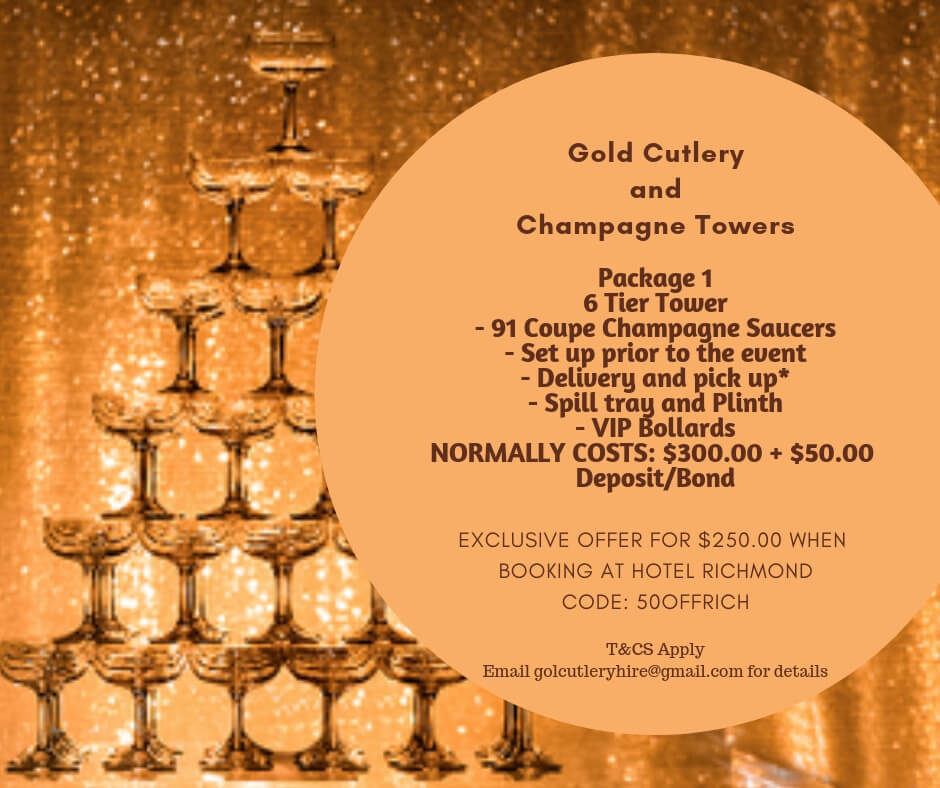 Gold champagne towers $50 off at Hotel Richmond