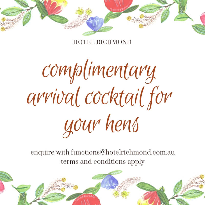 complimentary arrival cocktail for hens party bookings